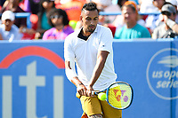 Washington, DC - August 4, 2019: Nick Kyrgios (AUS) returns the ball from Daniil Medvedev (RUS) NOT PICTURED during the Men's finals of the Citi Open at the Rock Creek Tennis Center, in Washington D.C. (Photo by Philip Peters/Media Images International)