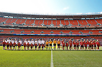 22 MAY 2010:  The USA WNT and Germany WNT prior to the International Friendly soccer match between Germany WNT vs USA WNT at Cleveland Browns Stadium in Cleveland, Ohio on May 22, 2010.