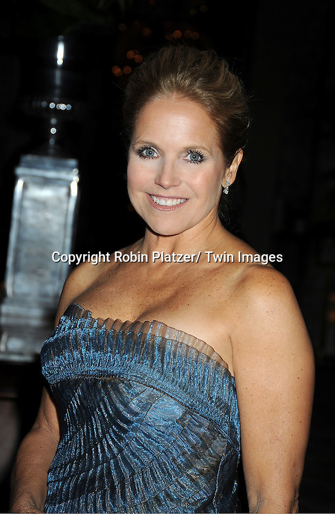 Katie Couric in Carmen Marc Valvo blue dress  attends The 2011 Living Landmarks Celebration presented by The New York Landmarks Conservancy on ..November 2, 2011 at The Plaza Hotel in New York City.  ..The honorees are Lewis B Cullman, Louise Kerz Hirschfeld, Angelia Lansbury, Danny Meyer and Regis Philbin.
