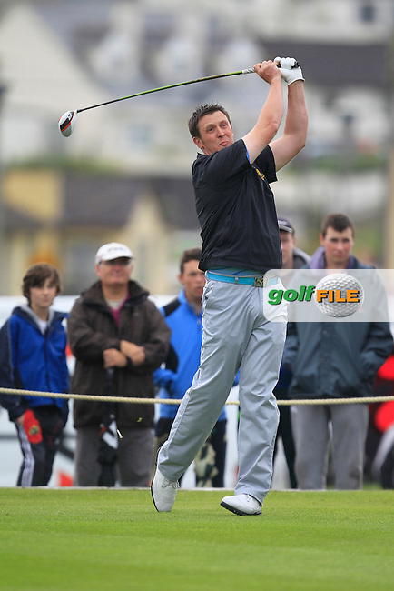 Paul O'Hara (Kilkenny) on the 1st tee during the South of Ireland Amateur Open Championship Final at Lahinch Golf Club  31th July 2013 <br /> Picture:  Thos Caffrey / www.golffile.ie