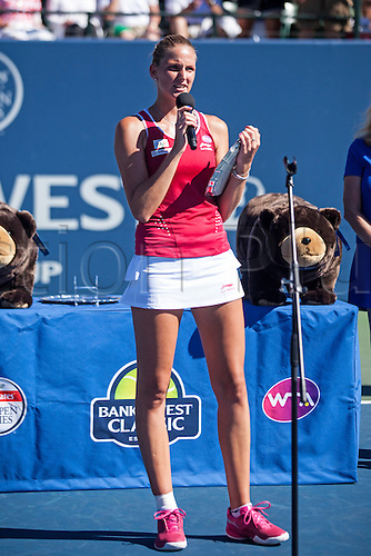 09.08.2015. Stanford, California, USA.  Karolina Pliskova (CZE) addresses the crowd after being awarded runner-up of the finals of the Bank of the West Classic at Stanford University's Taube Family Tennis Center in Stanford, Calif.