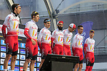 Cofidis team on stage at sign on before the 2019 Gent-Wevelgem in Flanders Fields running 252km from Deinze to Wevelgem, Belgium. 31st March 2019.<br /> Picture: Eoin Clarke | Cyclefile<br /> <br /> All photos usage must carry mandatory copyright credit (© Cyclefile | Eoin Clarke)