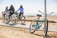 Ladies Riding Beach Cruiser Bikes Along the Huntington Beach Bike Path