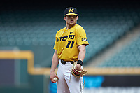 Missouri Tigers starting pitcher Konnor Ash (11) looks to his catcher for the sign against the Oklahoma Sooners in game four of the 2020 Shriners Hospitals for Children College Classic at Minute Maid Park on February 29, 2020 in Houston, Texas. The Tigers defeated the Sooners 8-7. (Brian Westerholt/Four Seam Images)