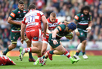 Harry Thacker of Leicester Tigers takes on the Gloucester Rugby defence. Aviva Premiership match, between Leicester Tigers and Gloucester Rugby on September 16, 2017 at Welford Road in Leicester, England. Photo by: Patrick Khachfe / JMP