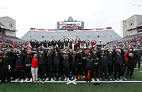 Ohio State players and coaches sing Carmen Ohio during the celebration for winning the national championship at Ohio Stadium on Jan. 24, 2015. (Adam Cairns / The Columbus Dispatch)