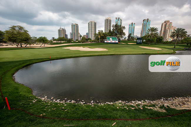 13th green ahead of the 2016 Omega Dubai Desert Classic played at the Emirates Golf Club, Dubai, United Arab Emirates.  30/01/2016. Picture: Golffile | David Lloyd<br /> <br /> All photos usage must carry mandatory copyright credit (&copy; Golffile | David Lloyd)