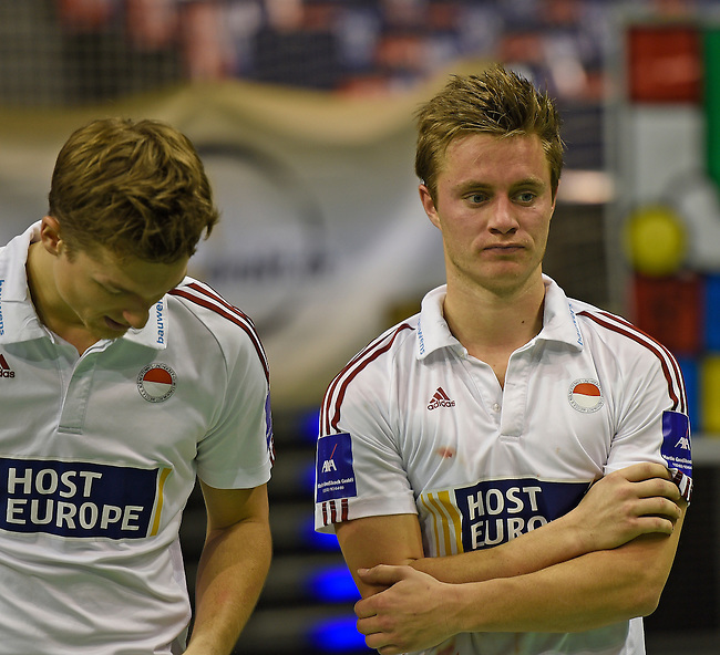 Berlin, Germany, February 01: Players of RW Koeln look disappointed after losing the 54. Deutsche Hallenhockey Meisterschaft final February 1, 2015 at the Final Four tournament at Max-Schmeling-Halle in Berlin, Germany. Final score 10-7 (6-5). (Photo by Dirk Markgraf / www.265-images.com) *** Local caption ***