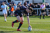 Peter Lydon of London Scottish is denied a try during the Greene King IPA Championship match between London Scottish Football Club and Bedford Blues at Richmond Athletic Ground, Richmond, United Kingdom on 25 March 2017. Photo by David Horn / PRiME Media Images.