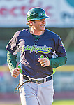 1 September 2014: Vermont Lake Monsters Manager David Newhan trots back to the dugout during the season's Labor Day finale against the Tri-City ValleyCats at Centennial Field in Burlington, Vermont. The ValleyCats defeated the Lake Monsters 3-2 in NY Penn League action. Mandatory Credit: Ed Wolfstein Photo *** RAW Image File Available ****