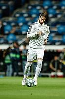 30th October 2019; Estadio Santiago Bernabeu, Madrid, Spain; La Liga Football, Real Madrid versus Leganes; Sergio Ramos (Real Madrid)  Pre-match warm-up - Editorial Use