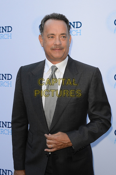 Tom Hanks.Circle Of Hope Dinner And Entertainment Gala held at Beverly Hills Hotel, Beverly Hills, California, USA..September 19th, 2012.half length suit white shirt grey gray tie moustache mustache facial hair  .CAP/ADM/TW.©Tonya Wise/AdMedia/Capital Pictures.