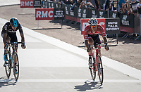 Jasper Stuyven (BEL/Trek-Segafredo) sprints towards the lead group on the legendary Roubaix velodrome with Gianni Moscon (ITA/SKY) in tow in the last lap before the finish<br /> <br /> 115th Paris-Roubaix 2017 (1.UWT)<br /> One Day Race: Compi&egrave;gne &rsaquo; Roubaix (257km)