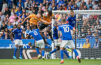 Leander Dendoncker & Willy Boly of Wolves in the lead up to the goal which is disallowed during the Premier League match between Leicester City and Wolverhampton Wanderers at the King Power Stadium, Leicester, England on 10 August 2019. Photo by Andy Rowland.