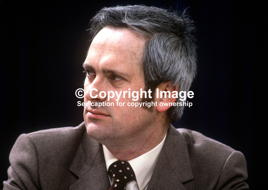 John Bruton, TD, Fine Gael, political party, Rep of Ireland, on platform at his party's annual conference, aka Ard Fheis. 198103000060JB1..Copyright Image from Victor Patterson, 54 Dorchester Park, Belfast, United Kingdom, UK...For my Terms and Conditions of Use go to http://www.victorpatterson.com/Victor_Patterson/Terms_%26_Conditions.html