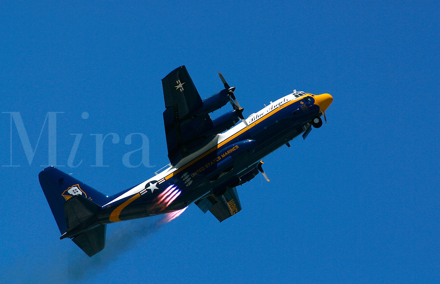 The Blueangels 130G Hercules known as Fat Albert equipped with disposable jet packs for a short takeoff
