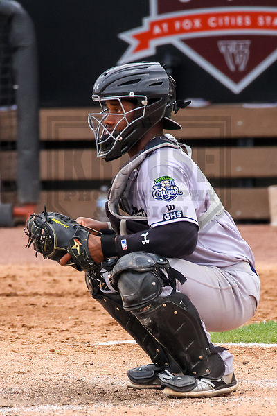 Kane County Cougars catcher Fernery Ozuna (9) during a Midwest League game against the Wisconsin Timber Rattlers on June 11, 2017 at Fox Cities Stadium in Appleton, Wisconsin.  Kane County defeated Wisconsin 6-4. (Brad Krause/Krause Sports Photography)
