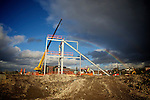 Pix: Shaun Flannery/shaunflanneryphotography.com...COPYRIGHT PICTURE>>SHAUN FLANNERY>01302-570814>>07778315553>>..17th October 2011..................Rainbow over construction work.<br /> Eagle Platforms, Unit 22D, Orgreave Crescent, Dore Industrial Estate, S13 9NQ..Steel erectors Ellrod engineering at work with 'cherry pickers' on the site of Rotherham United's new football stadium.