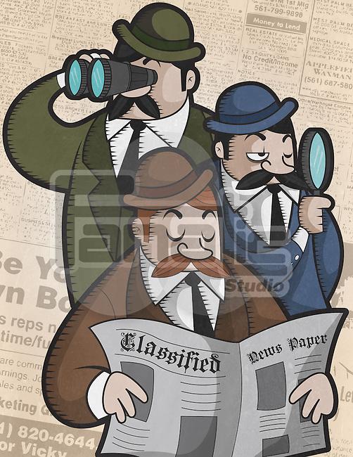 Three businessmen searching job