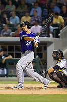 Steve Selsky (27) of the Louisville Bats follows through on his swing against the Charlotte Knights at BB&T Ballpark on June 26, 2014 in Charlotte, North Carolina.  The Bats defeated the Knights 6-4.  (Brian Westerholt/Four Seam Images)