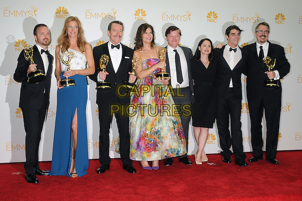 25 August 2014 - Los Angeles, California - Aaron Paul, Anna Gunn, Bryan Cranston, Betsy Brandt, Jesse Plemons, Laura Fraser, RJ Mitte, Vince Gilligan. 66th Annual Primetime Emmy Awards - Press Room held at Nokia Theatre LA Live. <br /> CAP/ADM/BGP<br /> &copy;BGP/ADM/Capital Pictures