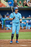 Brandon Wulff (34) of the Ogden Raptors at bat against the Rocky Mountain Vibes at Lindquist Field on July 4, 2019 in Ogden, Utah. The Raptors defeated the Vibes 4-2. (Stephen Smith/Four Seam Images)