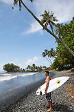 FRENCH POLYNESIA, Tahiti. Local surfers at Papenoo Beach.