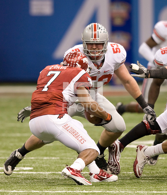 Garrett Goebel of Ohio State in action against Arkansas during 77th Annual Allstate Sugar Bowl Classic at Louisiana Superdome in New Orleans, Louisiana on January 4th, 2011.  Ohio State defeated Arkansas, 31-26.