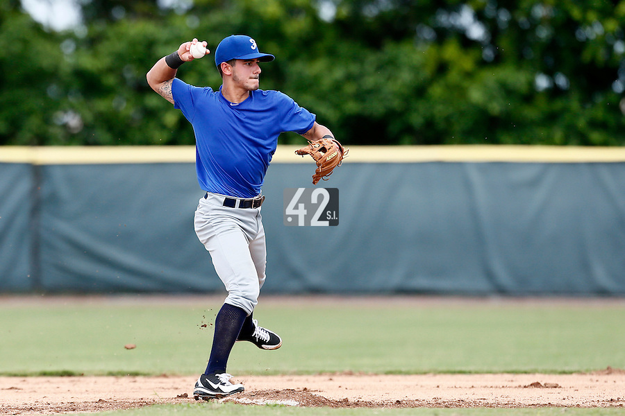 19 September 2012: Maxime Lefevre throws the ball to first base during Team France friendly game won 6-3 against Palm Beach State College, during the 2012 World Baseball Classic Qualifier round, in Lake Worth, Florida, USA.