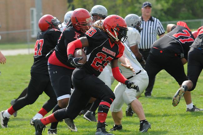minor league football helmets warriors vs bullsharks derik hamilton images