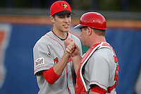 March 9, 2010:  Pitcher Ryan Copeland (22) and catcher Gabe DeMarco of the Illinois State Redbirds during a game at McKethan Stadium in Gainesville, FL.  Photo By Mike Janes/Four Seam Images