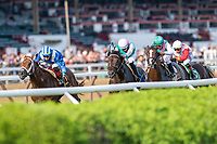 Qurbaan (no. 6) wins the Bernard Baruch Handicap (Grade 2), Sep. 3, 2018 at the Saratoga Race Course, Saratoga Springs, NY. Ridden by Irad Ortiz, Jr., and trained by Kiaran McLaughlin, Qurbaan finished a nose in front of Forge (no. 3) and Projected (no. 2) in a three horse photo finish. (Robert Simmons/Eclipse Sportswire)