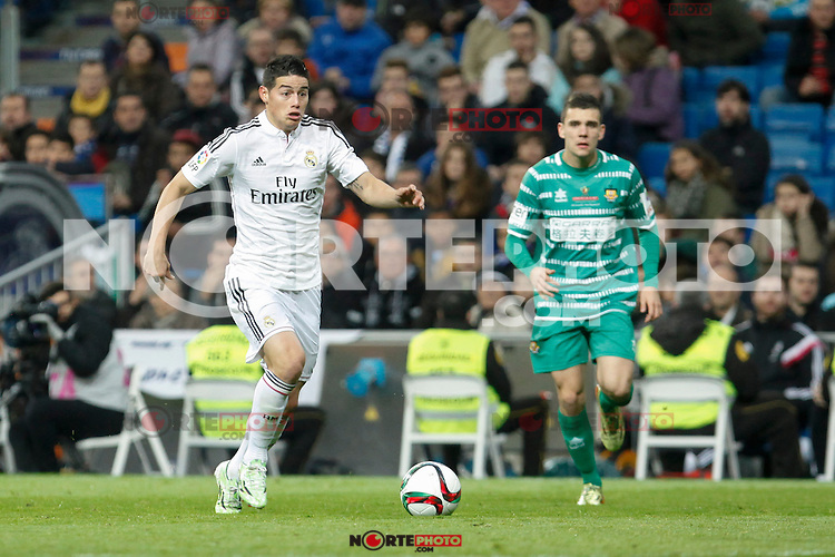 Real Madrid´s James Rodriguez (L) during Spanish King Cup match between Real Madrid and Cornella at Santiago Bernabeu stadium in Madrid, Spain.December 2, 2014. (NortePhoto/ALTERPHOTOS/Victor Blanco)