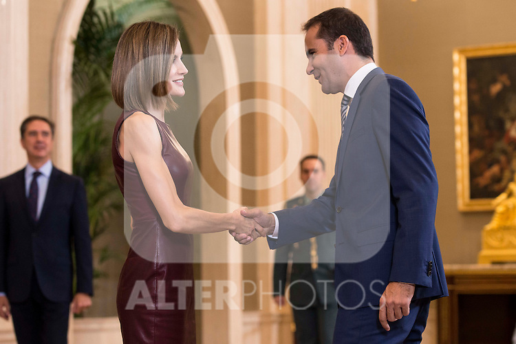 """Queen Letizia of Spain during Royal Audience with a representation of the organizers of the X edition of the international awards """"YO DONA"""" at Zarzuela Palace in Madrid, October 30, 2015.<br /> (ALTERPHOTOS/BorjaB.Hojas)"""
