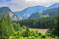 Mountains and the Fraser River in the Fraser Canyon, Yale, British Columbia, Canada