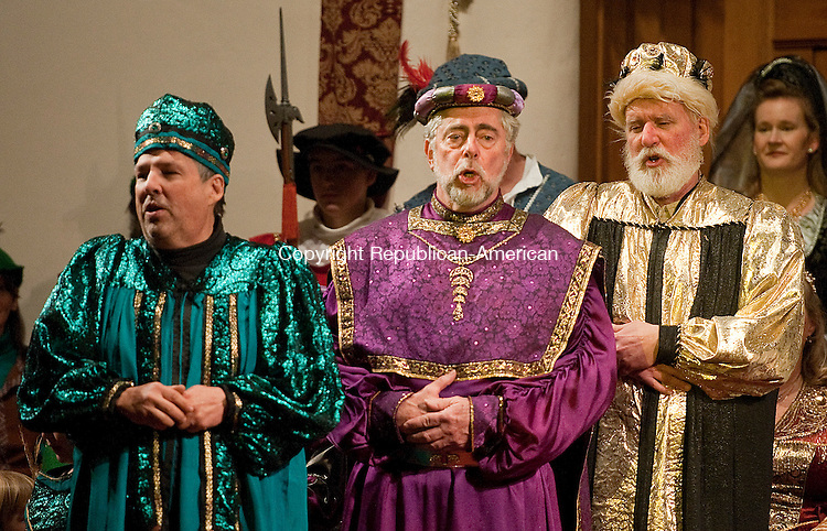"WINSTED, CT-010414JS08- The Three Kings, played by Rev. Tom Yeadon; Dave Lewis and Dave Pastorello sing"" We Three Kings"" during the 24th Annual Boar's Head Festival Saturday at the First Church of Winsted. The even continues with a show today (Sunday) at 4 p.m. Tickets are still available at the door.  Jim Shannon Republican-American"