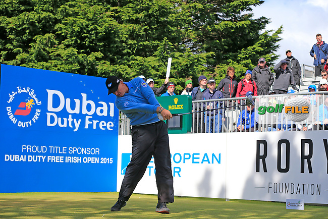 Ernie ELS (RSA) tees off the 1st tee during Friday's Round 2 of the 2015 Dubai Duty Free Irish Open, Royal County Down Golf Club, Newcastle Co Down, Northern Ireland 5/29/2015<br />  Picture Eoin Clarke, www.golffile.ie