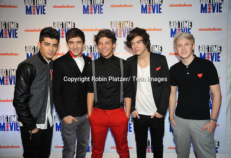 """singing group One Direction attends The movie premiere of """" Big Time Movie"""" starring .Big Time Rush of Nickelodeon on March 8, 2012 at 583 Park Avenue in New York City."""