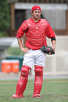 July 4th 2008:  Catcher Scott Thomas (22) of the Williamsport Crosscutters, Class-A affiliate of the Philadelphia Phillies, during a game at Bowman Field in Williamsport, PA.  Photo by:  Mike Janes/Four Seam Images