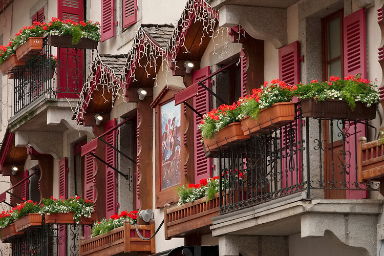 The Germanic-Swiss influence is reflected in the design of these balconies in the French Alps' village of Chamonix.