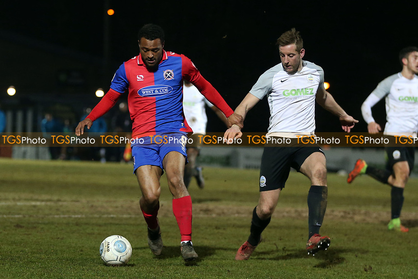 Connor Essam of Dover Athletic and Chike Kandi of Dagenham  during Dover Athletic vs Dagenham & Redbridge, Vanarama National League Football at the Crabble Athletic Ground on 20th February 2018