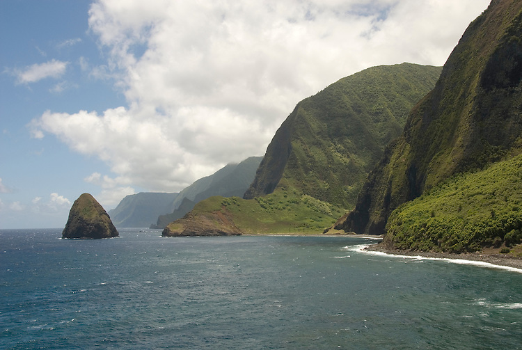 Hawaii: Molokai, cliffs and seafins at Kalawao, with view of Waikoloa River Valley, scenic. .Photo himolo108-71885..Photo copyright Lee Foster, www.fostertravel.com, lee@fostertravel.com, 510-549-2202