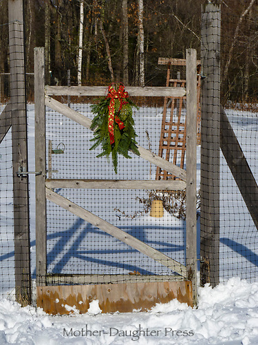 Gate with evergreen and bow in Yarmouth Community Garden, Maine,
