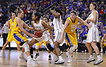 SIOUX FALLS, SD: MARCH 6: Clarissa Ober #21 of South Dakota State reaches on Mikale Rogers #33 of IUPUI during the Summit League Basketball Championship on March 6, 2017 at the Denny Sanford Premier Center in Sioux Falls, SD. (Photo by Dick Carlson/Inertia)