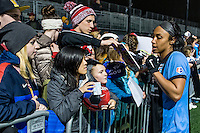 Allston, MA - Saturday, May 07, 2016: Chicago Red Stars defender Samantha Johnson (16) signs autographs<br /> after a regular season National Women's Soccer League (NWSL) match at Jordan Field.
