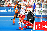 Barry Middleton of England  blocks a Malaysian shot during the Hockey World League Semi-Final Pool A match between England and Malaysia at the Olympic Park, London, England on 17 June 2017. Photo by Steve McCarthy.