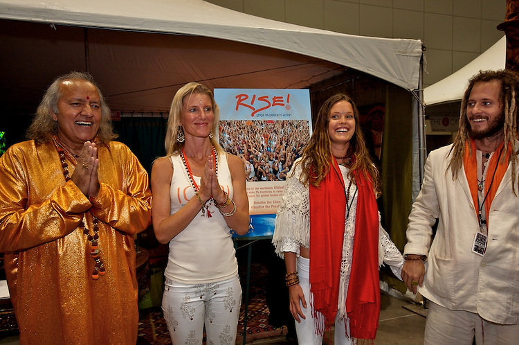 Global Mala Project (GMP) event.  Laughing Yogi, Shiva, Radha and Govindas.