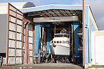 Port Townsend, Marine Travelift, Boat Haven Marina, Puget Sound, Washington State, yacht hauled out in boatyard, Jefferson County, Olympic Peninsula, Pacific Northwest, United States,