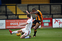 Mark Hughes of Accrington Stanley blocks the shot of Uche Ikpeazu of Cambridge United during Cambridge United vs Accrington Stanley, Sky Bet EFL League 2 Football at the Cambs Glass Stadium on 11th November 2017