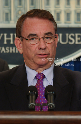 United States Secretary of Health and Human Services (HHS) Tommy Thompson makes a statement in the White House Briefing Room in Washington, D.C. on Tuesday, September 11, 2001 in the hours following the terrorist attacks against the World Trade Center in New York and the Pentagon in Washington, DC..Credit: Ron Sachs / CNP
